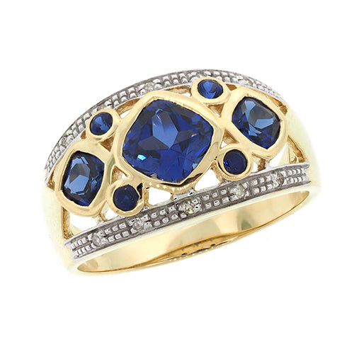 9ct Created Ceylon Sapphire & Diamond Ring