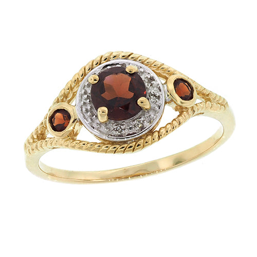 9ct Gold Garnet & Diamond Dress Ring