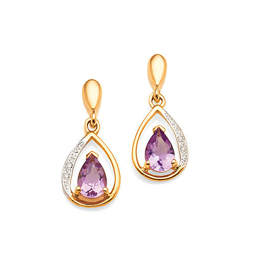 9ct Amethyst & Diamond Studs