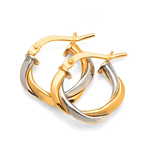 2-Tone Gold Bonded 10mm Twist Hoops