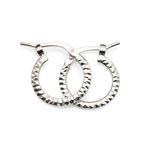 White Gold Bonded 12mm Hoops
