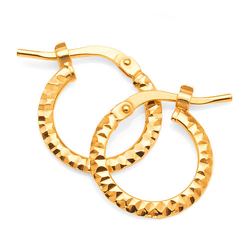 Yellow Gold Bonded Flat 12mm Hoops