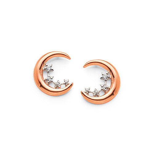 Sterling Silver Rose Tone Crescent Studs