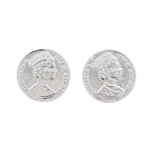 Sterling Silver 14mm Coin Stud Earrings