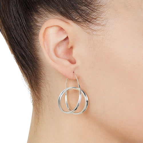 Najo Sterling Silver Double Hoop Earrings E6116