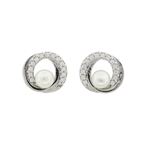 Sterling Silver Pearl & CZ 10mm Circle Studs