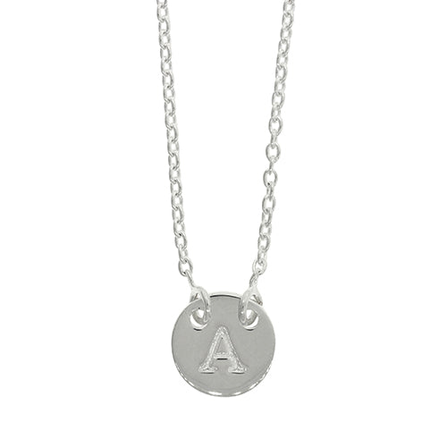 Sterling Silver A Initial Disc Necklet