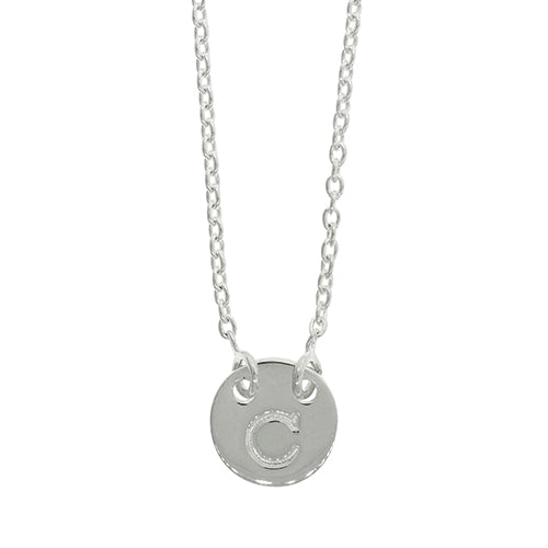 Sterling Silver C Initial Disc Necklet