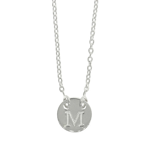 Sterling Silver M Initial Disc Necklet