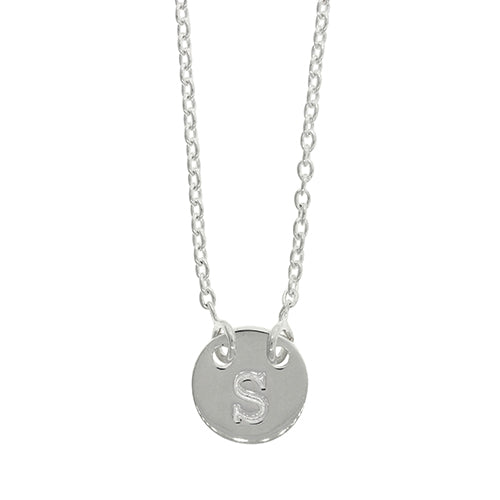 Sterling Silver S Initial Disc Necklet