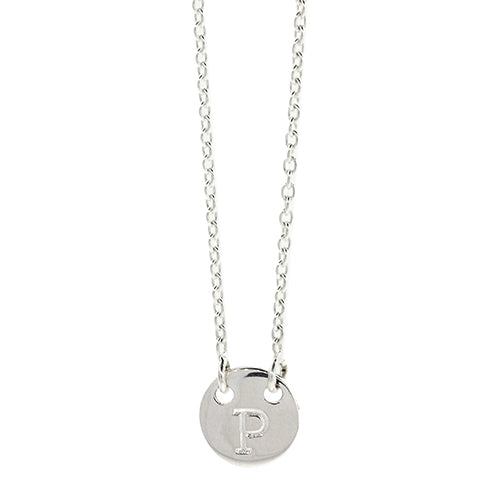 Sterling Silver P Initial Disc Necklet