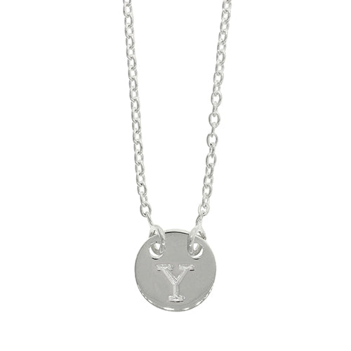 Sterling Silver Y Initial Disc Necklet