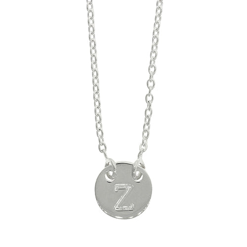 Sterling Silver Z Initial Disc Necklet