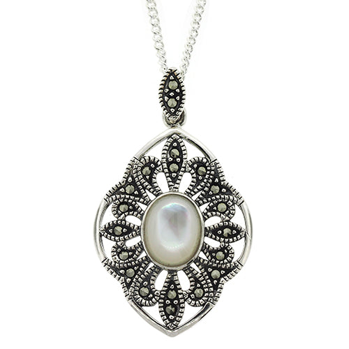 Sterling Silver Marcasite & Pearl Pendant