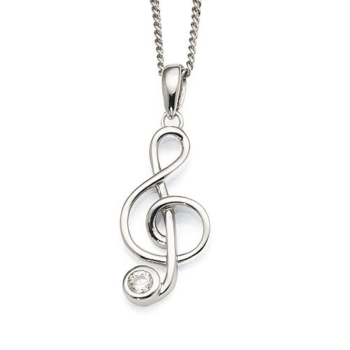 Sterling Silver Treble Clef Music Pendant