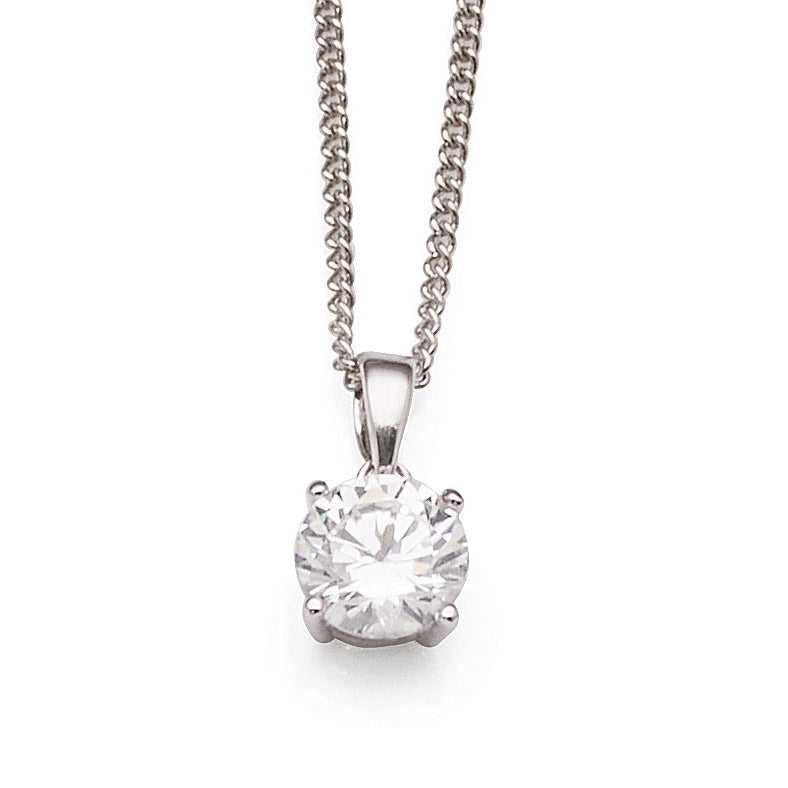 Sterling Silver 7mm White Cubic Zirconia Pendant
