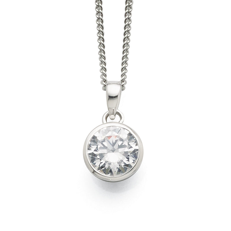 Sterling Silver 7mm Round Cubic Zirconia Pendant