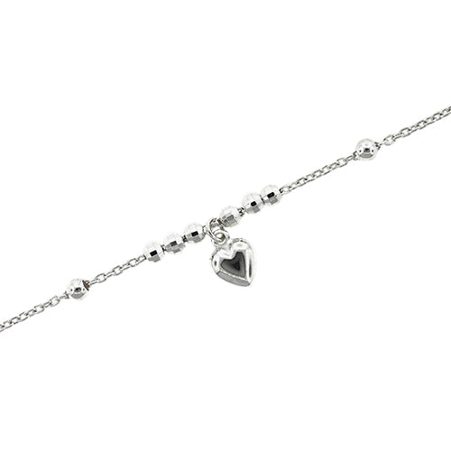 Sterling Silver Children's 16cm Heart Bracelet