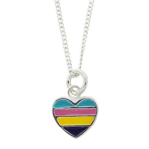 Sterling Silver Multi-Colour 10mm Heart Pendant