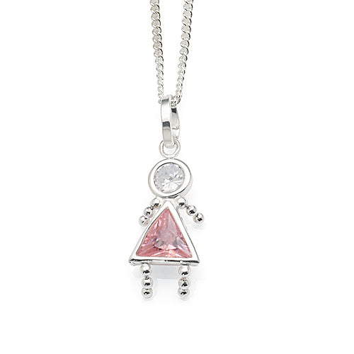 Sterling Silver Pink Girl Gem Baby Pendant