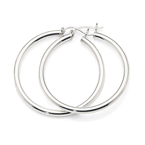 Sterling Silver 34mm Round Hoops