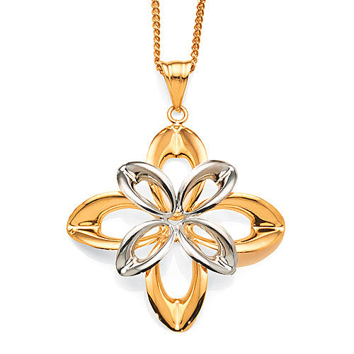 2-tone Gold Flower Pendant