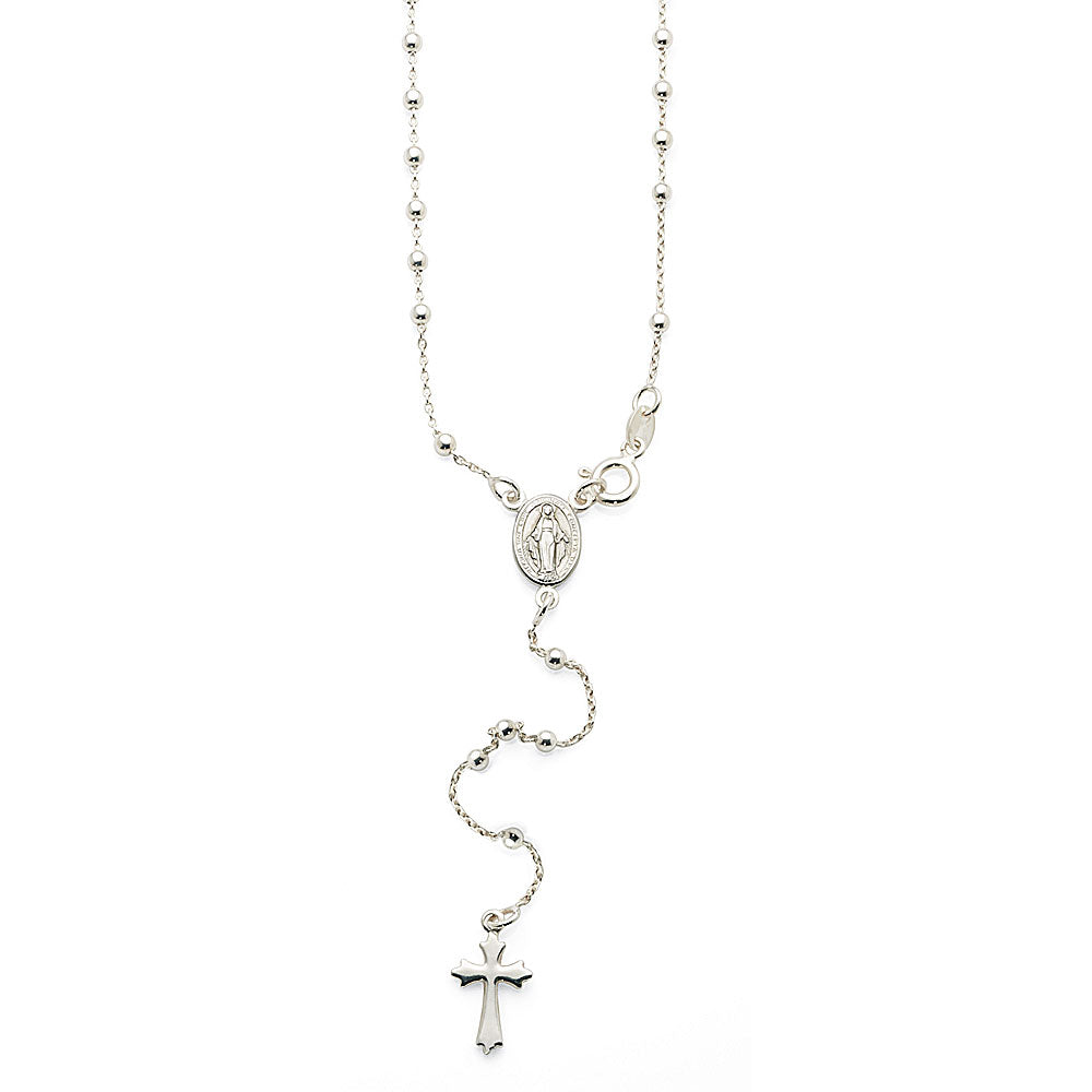 Sterling Silver Miraculous & Cross 50cm Y-Chain