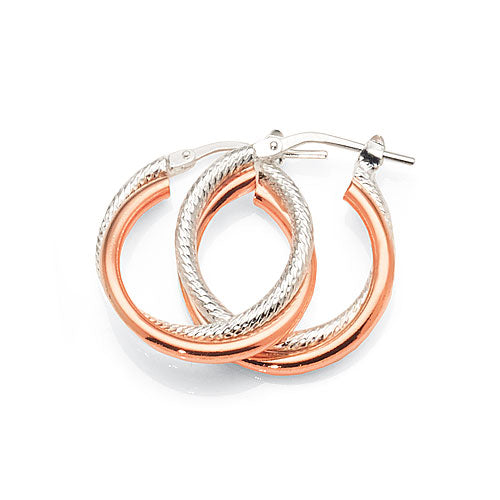 Sterling Silver Rose-Tone Hoops