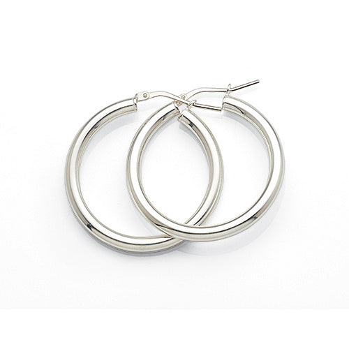 Sterling Silver 25mm Round Hoop Earrings