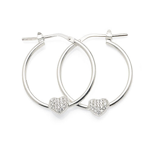Sterling Silver Cubic Zirconia Heart Hoops