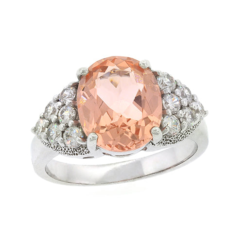Sterling Silver Nano Morganite & CZ Ring