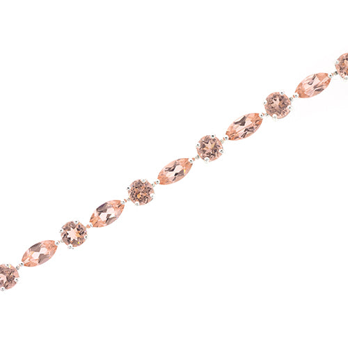 Rose-Tone Sterling Silver Morganite 20cm Bracelet