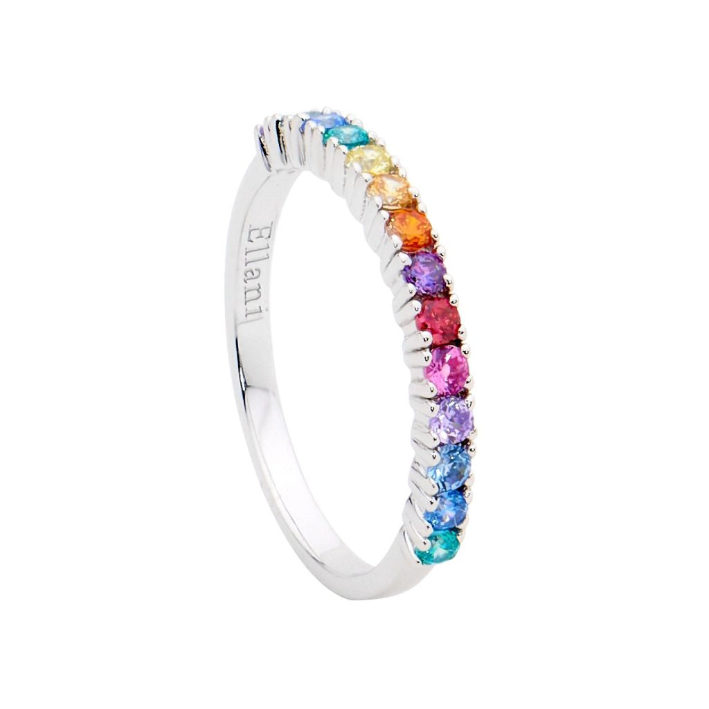 Ellani Sterling Silver Multi-Colour CZ Ring R494M