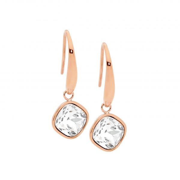 Ellani Rose-Tone Glass Hook Earrings SE200W-R