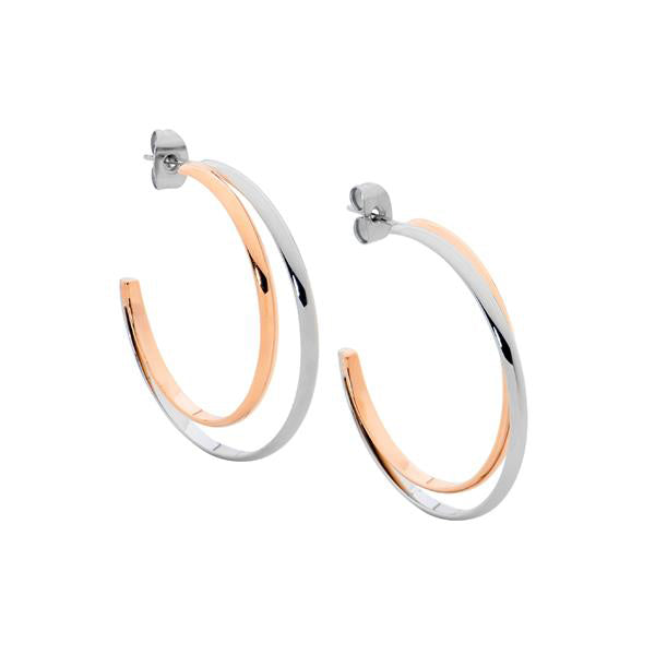 Ellani 2-Tone Stainless Steel 35mm Hoops SE213R