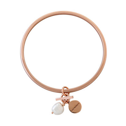 Von Treskow Silver Rose-Tone Bangle with Keshi Pearl KLB06-R