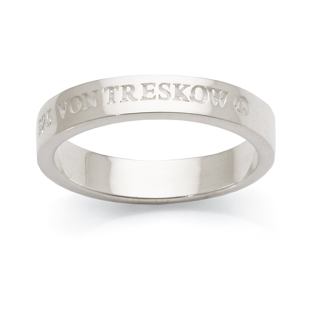 Von Treskow Sterling Silver Enscribed Ring KLR01
