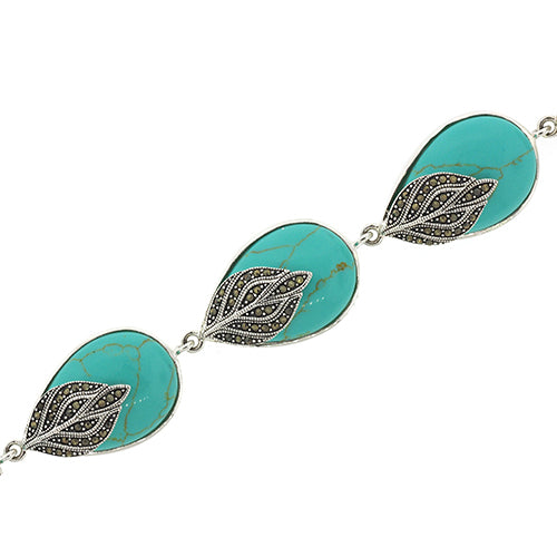 Sterling Silver Turquoise & Marcasite Bracelet