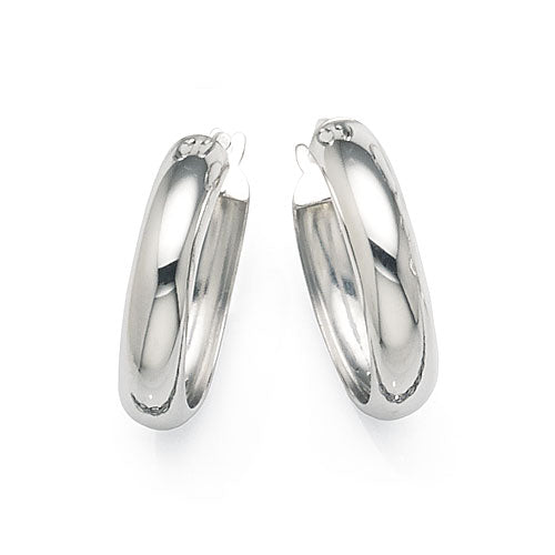 9ct White Gold Bonded 15mm Hoops
