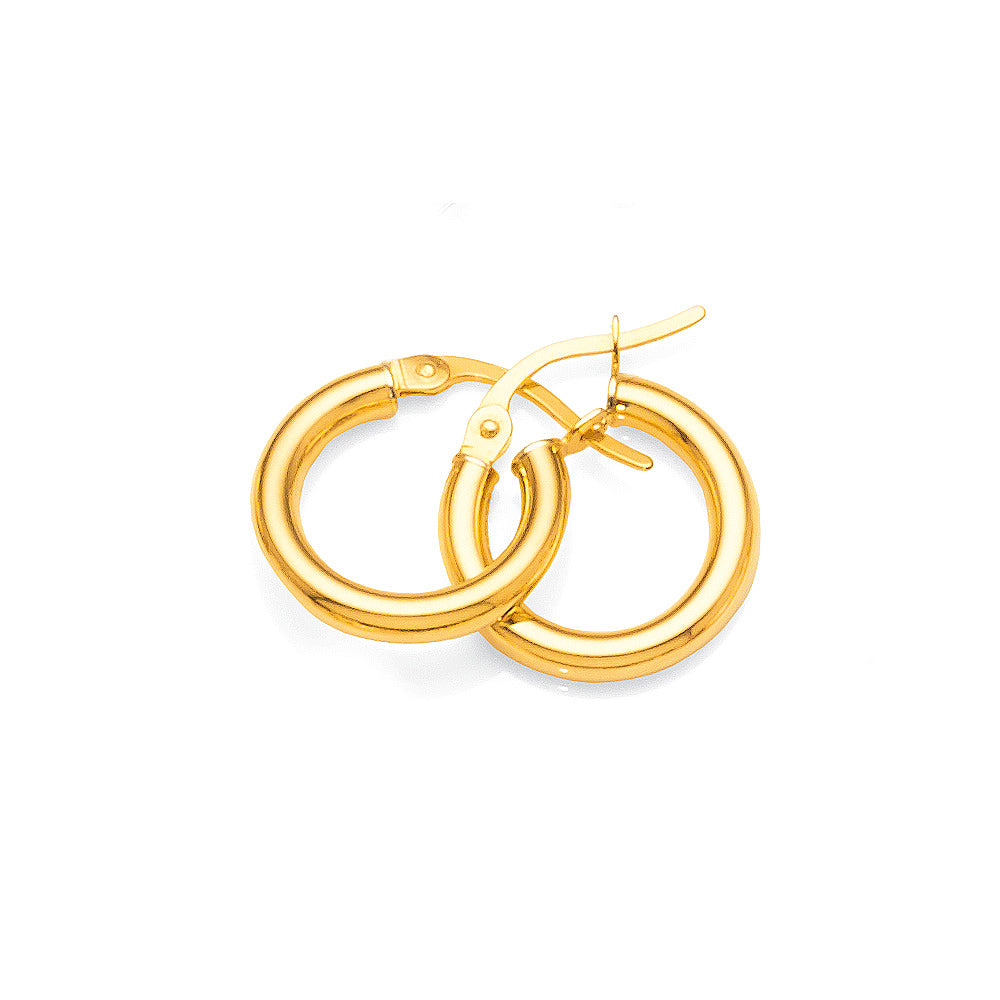 9ct Gold Bonded 10mm Hoop Earrings