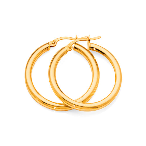 9ct Gold Bonded 20mm Hoop Earrings