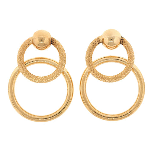 9ct Gold 25mm Circle Drop Stud Earrings