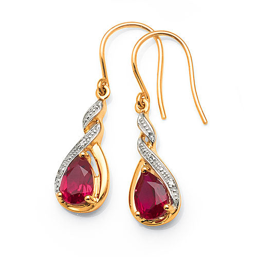 9ct Gold Created Ruby & Diamond Hook Earrings