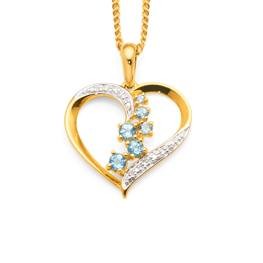 9ct Gold Blue Topaz & Diamond Heart Pendant