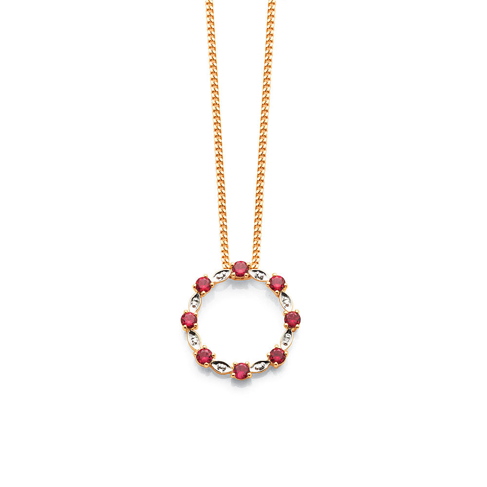 9ct Gold Created Ruby & Diamond 20mm Pendant