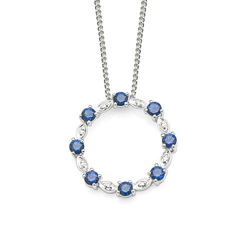 9ct White Gold Created Sapphire & Diamond Pendant