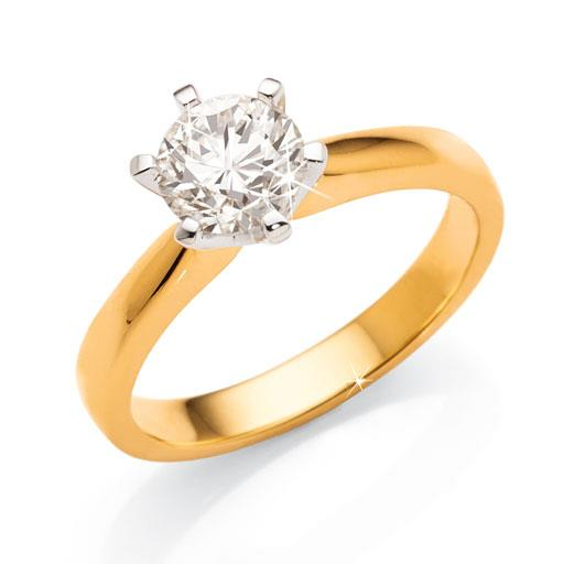 18ct Yellow Gold 1 Carat Diamond Solitaire Ring