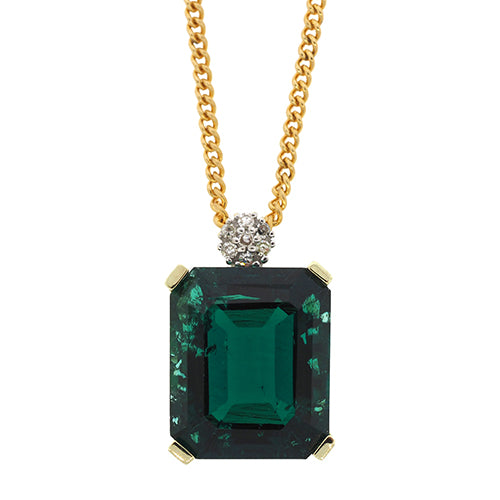 9ct Gold Created Emerald & Diamond Pendant