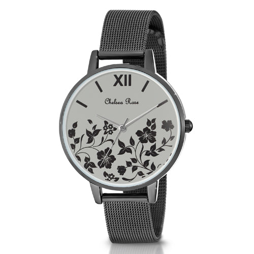 Chelsea Rose Black Floral Watch 7534-4CB