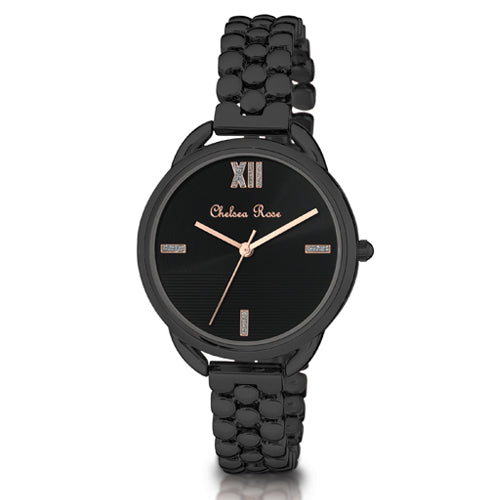 Chelsea Rose Black Dress Watch 7586-4CB